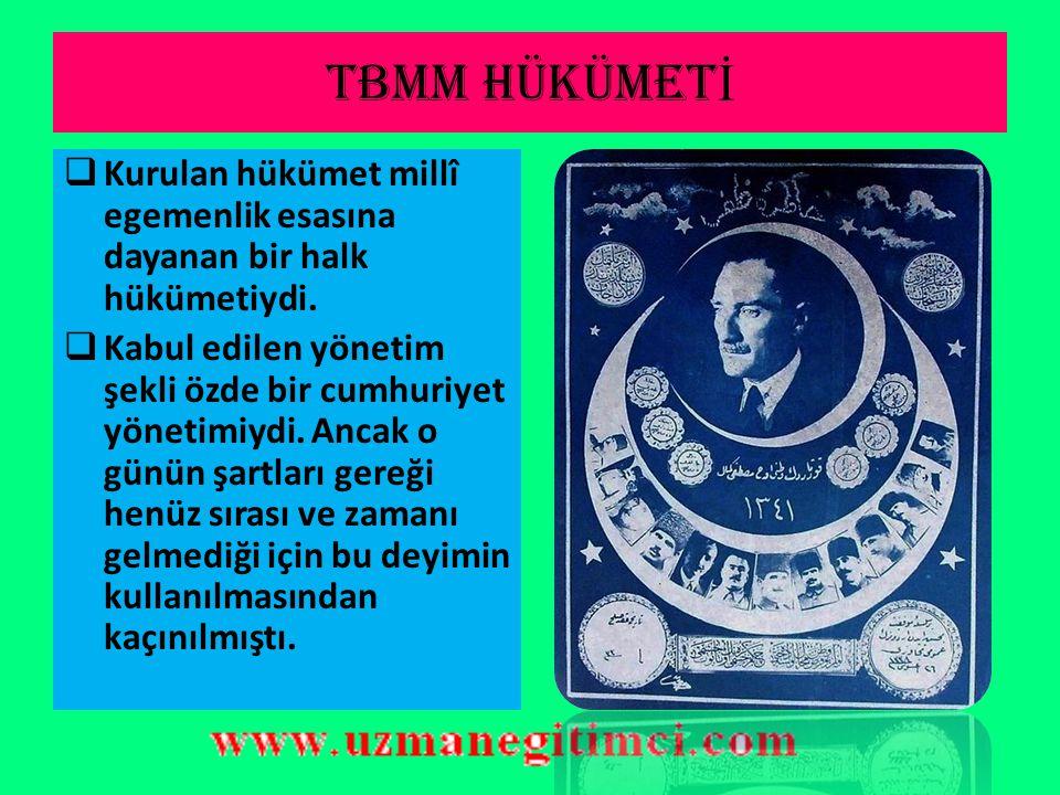 TBMM hükümet İ  TBMM 25 Nisanda Mustafa Kemal Paşa'nın başkanlığında yedi kişilik geçici bir icra heyeti seçti.  3 Mayısta yine Mustafa Kemal Paşa'n