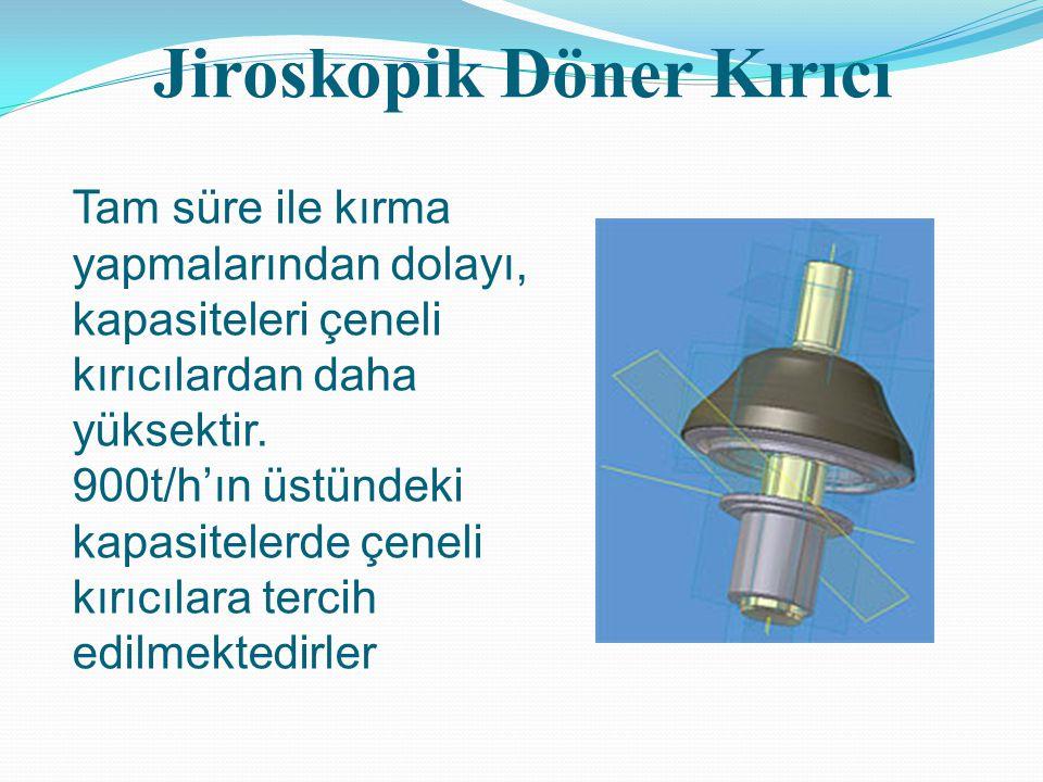 Jiroskopik Döner Kırıcı Tam süre ile kırma yapmalarından dolayı, kapasiteleri çeneli kırıcılardan daha yüksektir. 900t/h'ın üstündeki kapasitelerde çe