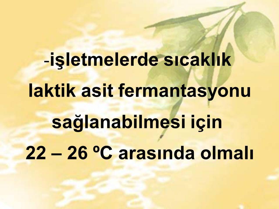 - işletmelerde sıcaklık laktik asit fermantasyonu sağlanabilmesi için 22 – 26 ºC arasında olmalı