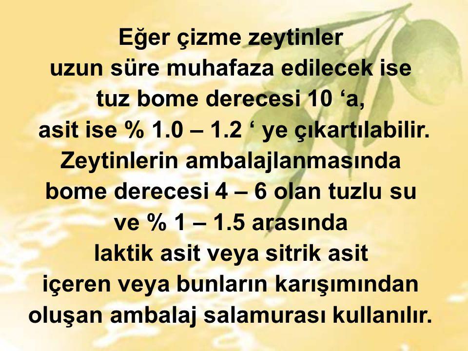 Eğer çizme zeytinler uzun süre muhafaza edilecek ise tuz bome derecesi 10 'a, asit ise % 1.0 – 1.2 ' ye çıkartılabilir.