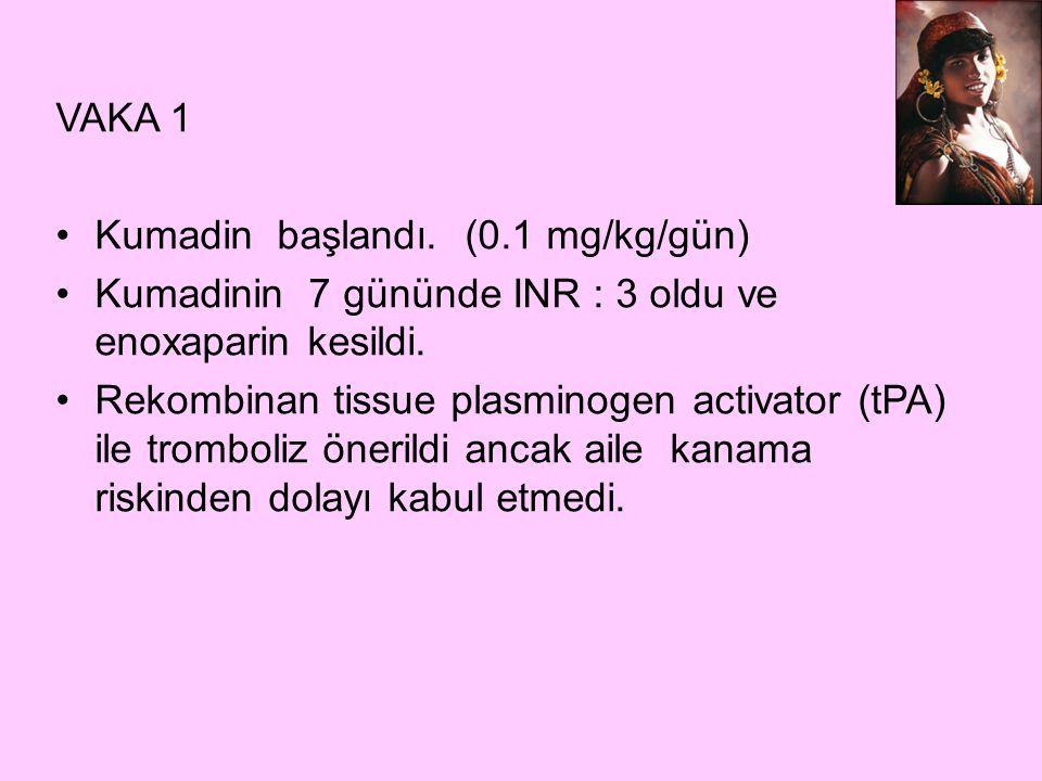 VAKA 1 Kumadin başlandı. (0.1 mg/kg/gün) Kumadinin 7 gününde INR : 3 oldu ve enoxaparin kesildi.