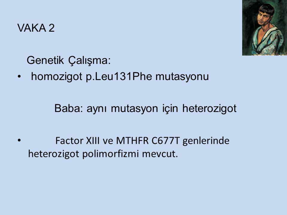 VAKA 2 Genetik Çalışma: homozigot p.Leu131Phe mutasyonu Baba: aynı mutasyon için heterozigot Factor XIII ve MTHFR C677T genlerinde heterozigot polimorfizmi mevcut.