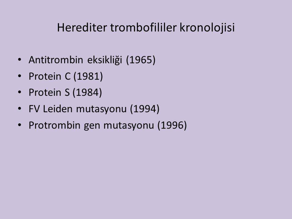 Herediter trombofililer kronolojisi Antitrombin eksikliği (1965) Protein C (1981) Protein S (1984) FV Leiden mutasyonu (1994) Protrombin gen mutasyonu