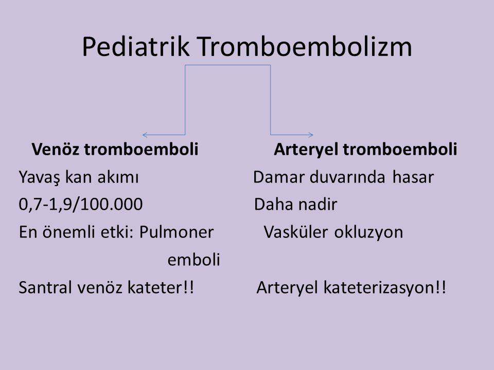 Pediatrik Tromboembolizm Venöz tromboemboli Arteryel tromboemboli Yavaş kan akımı Damar duvarında hasar 0,7-1,9/100.000 Daha nadir En önemli etki: Pul