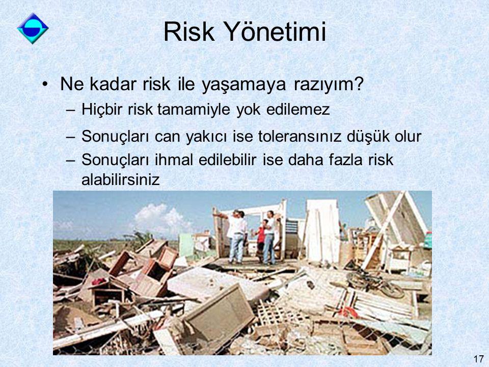 17 Risk Yönetimi Ne kadar risk ile yaşamaya razıyım? –Hiçbir risk tamamiyle yok edilemez –Sonuçları can yakıcı ise toleransınız düşük olur –Sonuçları