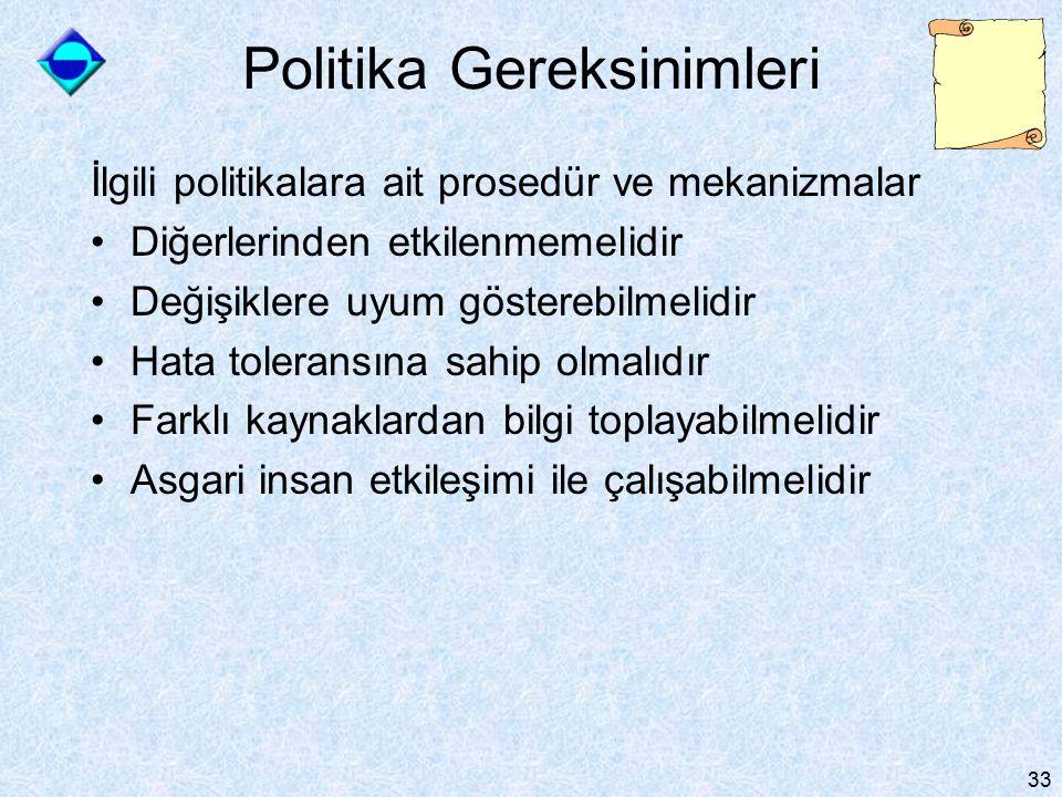 33 Politika Gereksinimleri İlgili politikalara ait prosedür ve mekanizmalar Diğerlerinden etkilenmemelidir Değişiklere uyum gösterebilmelidir Hata toleransına sahip olmalıdır Farklı kaynaklardan bilgi toplayabilmelidir Asgari insan etkileşimi ile çalışabilmelidir