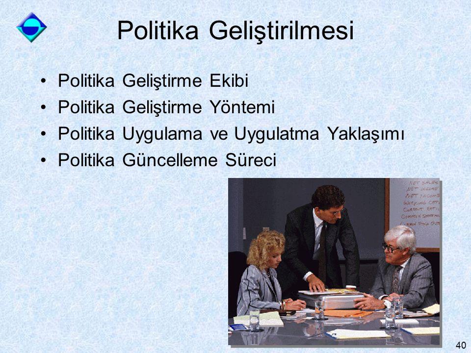 40 Politika Geliştirilmesi Politika Geliştirme Ekibi Politika Geliştirme Yöntemi Politika Uygulama ve Uygulatma Yaklaşımı Politika Güncelleme Süreci