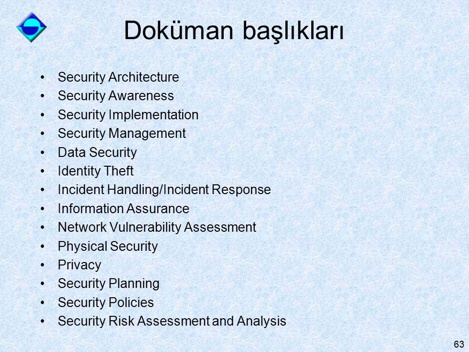 63 Doküman başlıkları Security Architecture Security Awareness Security Implementation Security Management Data Security Identity Theft Incident Handl