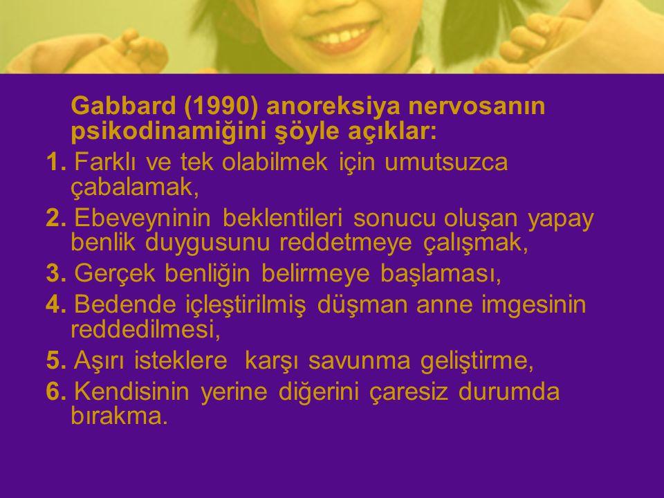 Gabbard (1990) anoreksiya nervosanın psikodinamiğini şöyle açıklar: 1. Farklı ve tek olabilmek için umutsuzca çabalamak, 2. Ebeveyninin beklentileri s