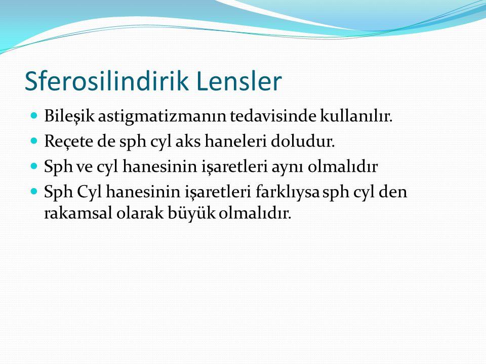 Sferosilindirik Lensler Bileşik astigmatizmanın tedavisinde kullanılır.