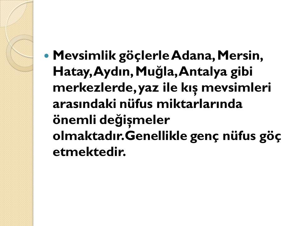 Mevsimlik göçlerle Adana, Mersin, Hatay, Aydın, Mu ğ la, Antalya gibi merkezlerde, yaz ile kış mevsimleri arasındaki nüfus miktarlarında önemli de ğ i