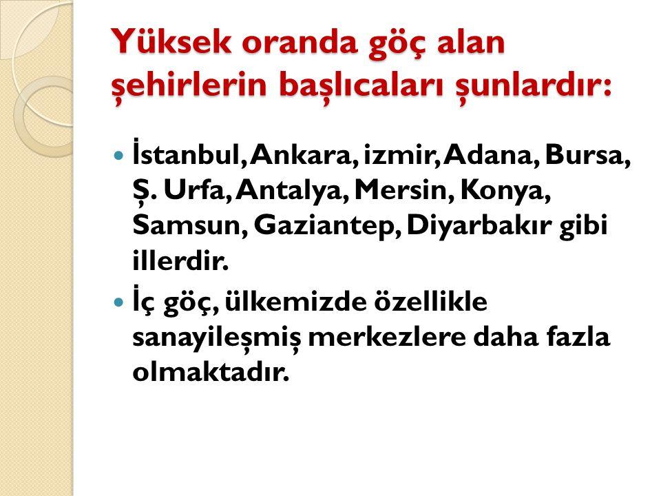 Yüksek oranda göç alan şehirlerin başlıcaları şunlardır: İ stanbul, Ankara, izmir, Adana, Bursa, Ş. Urfa, Antalya, Mersin, Konya, Samsun, Gaziantep, D