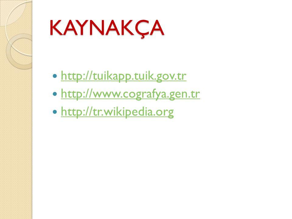 KAYNAKÇA http://tuikapp.tuik.gov.tr http://www.cografya.gen.tr http://tr.wikipedia.org