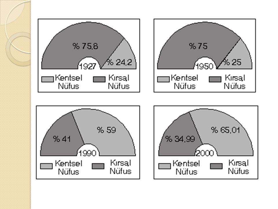 Yüksek oranda göç alan şehirlerin başlıcaları şunlardır: İ stanbul, Ankara, izmir, Adana, Bursa, Ş.