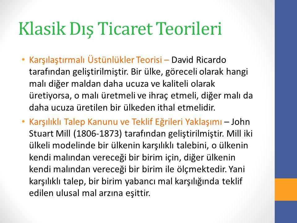 Klasik Dış Ticaret Teorileri Karşılaştırmalı Üstünlükler Teorisi – David Ricardo tarafından geliştirilmiştir.