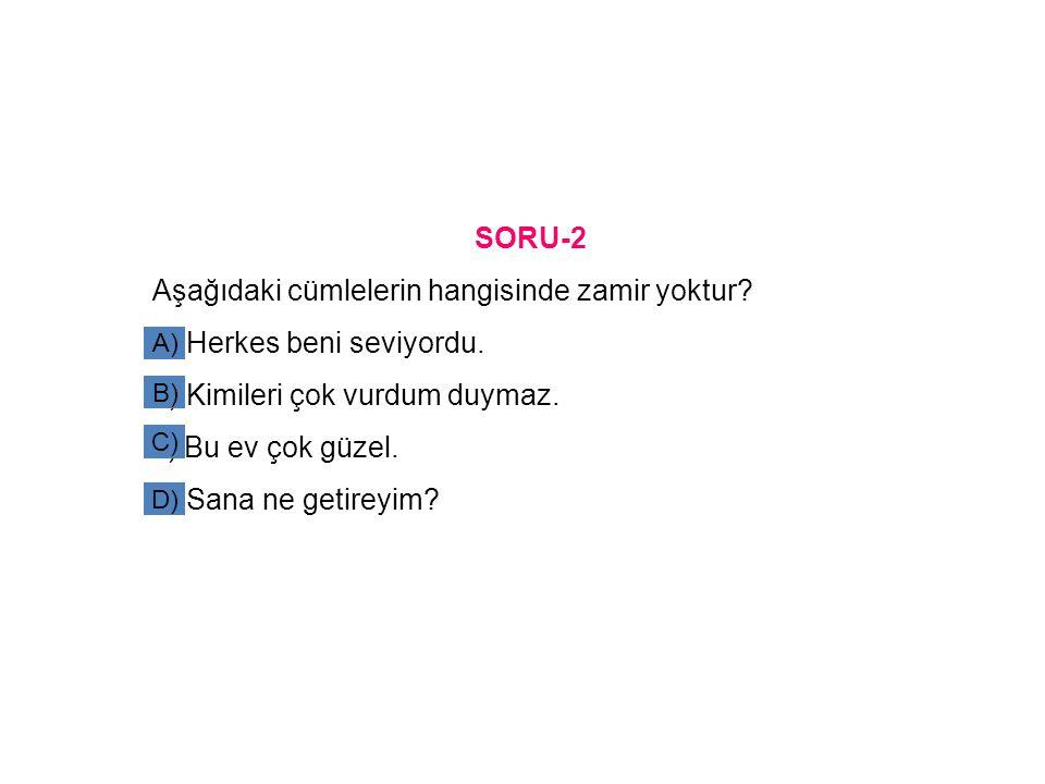 SORU-2 Aşağıdaki cümlelerin hangisinde zamir yoktur? a) Herkes beni seviyordu. b) Kimileri çok vurdum duymaz. c) Bu ev çok güzel. d) Sana ne getireyim