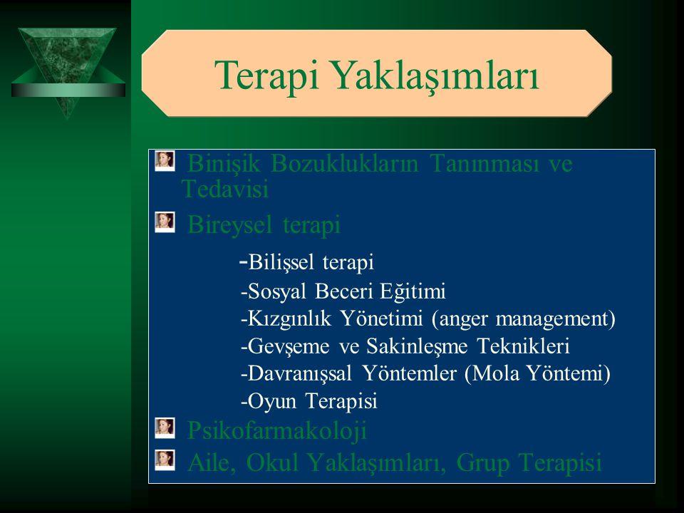 Binişik Bozuklukların Tanınması ve Tedavisi Bireysel terapi - Bilişsel terapi -Sosyal Beceri Eğitimi -Kızgınlık Yönetimi (anger management) -Gevşeme v