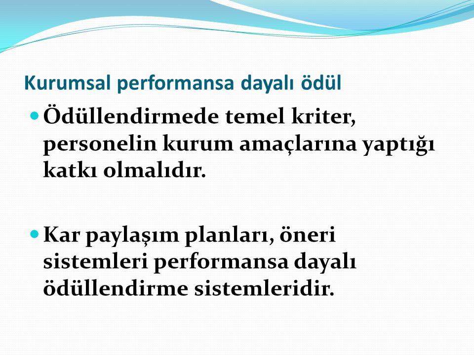 Kurumsal performansa dayalı ödül Ödüllendirmede temel kriter, personelin kurum amaçlarına yaptığı katkı olmalıdır. Kar paylaşım planları, öneri sistem