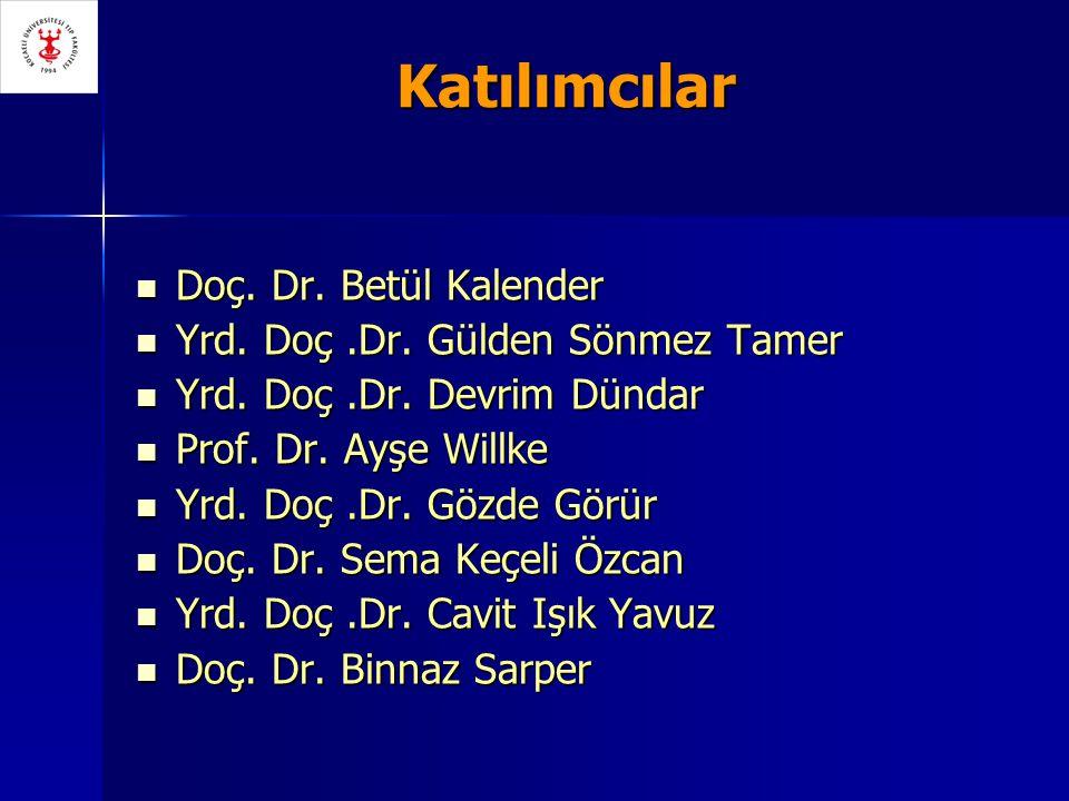 Katılımcılar Doç. Dr. Betül Kalender Doç. Dr. Betül Kalender Yrd. Doç.Dr. Gülden Sönmez Tamer Yrd. Doç.Dr. Gülden Sönmez Tamer Yrd. Doç.Dr. Devrim Dün