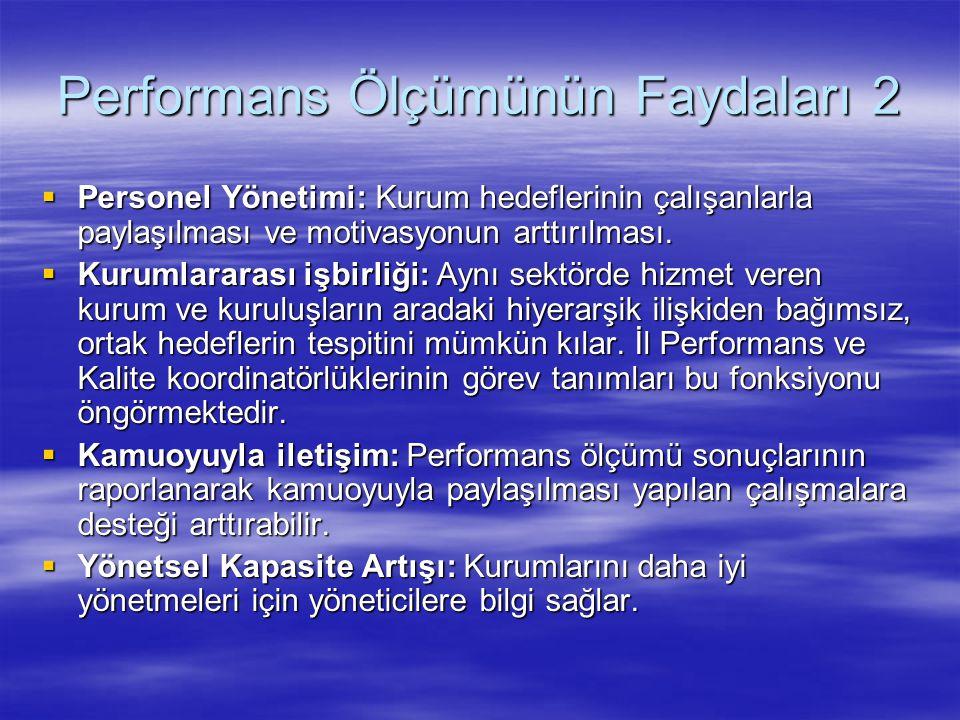 Performans Ölçümünün Faydaları 2  Personel Yönetimi: Kurum hedeflerinin çalışanlarla paylaşılması ve motivasyonun arttırılması.