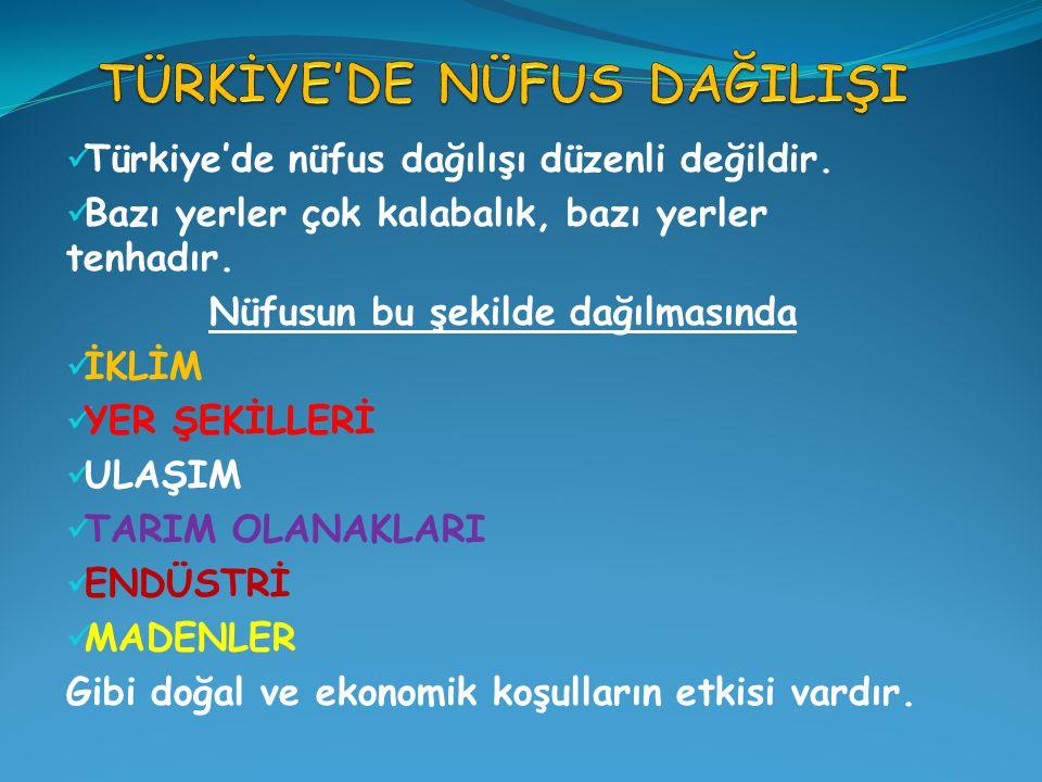 Türkiye'de nüfus dağılışı düzenli değildir. Bazı yerler çok kalabalık, bazı yerler tenhadır. Nüfusun bu şekilde dağılmasında İKLİM YER ŞEKİLLERİ ULAŞI