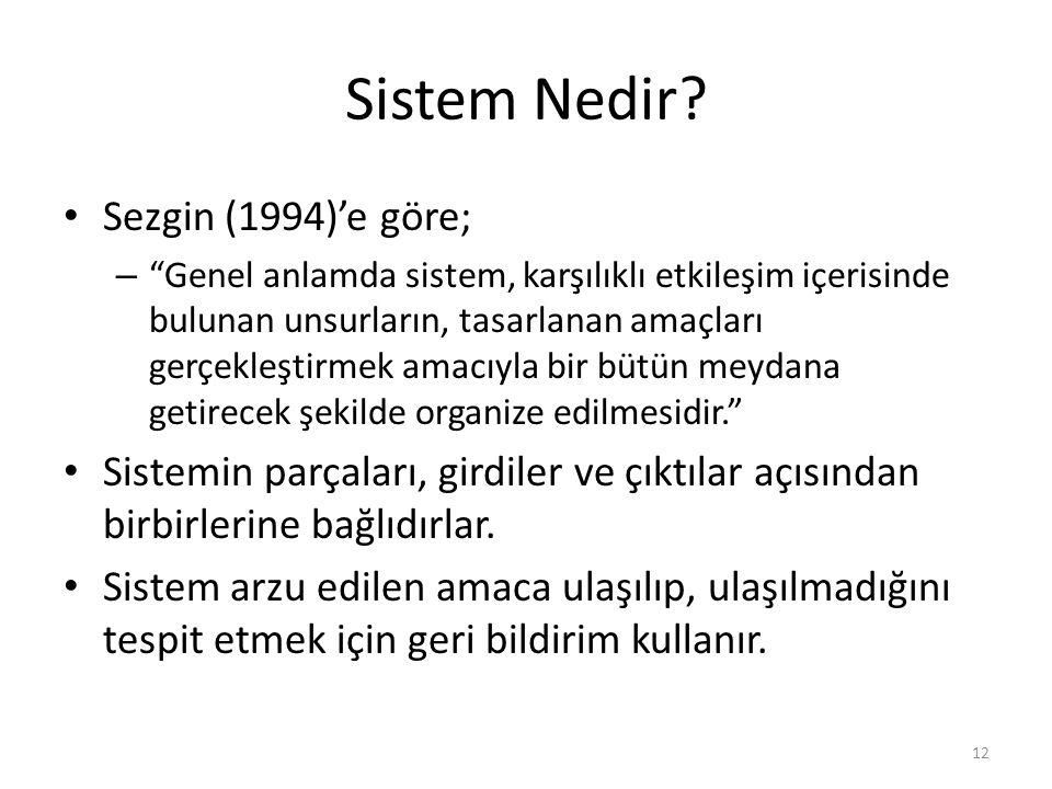 """Sistem Nedir? Sezgin (1994)'e göre; – """"Genel anlamda sistem, karşılıklı etkileşim içerisinde bulunan unsurların, tasarlanan amaçları gerçekleştirmek a"""