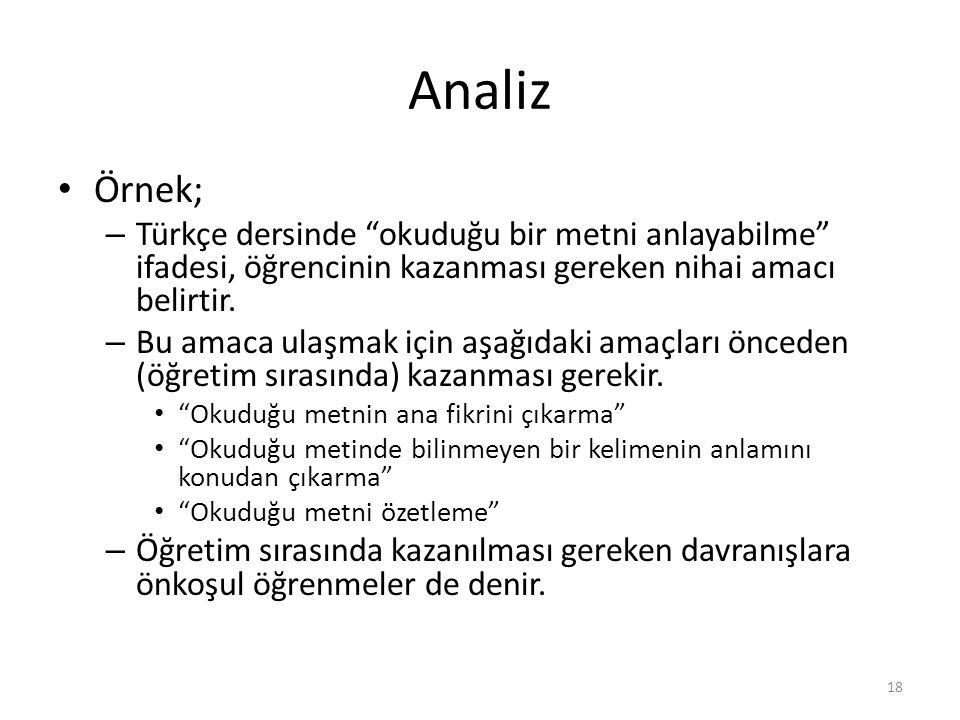 """Analiz Örnek; – Türkçe dersinde """"okuduğu bir metni anlayabilme"""" ifadesi, öğrencinin kazanması gereken nihai amacı belirtir. – Bu amaca ulaşmak için aş"""
