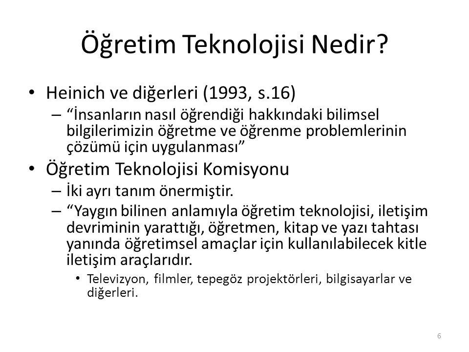 """Öğretim Teknolojisi Nedir? Heinich ve diğerleri (1993, s.16) – """"İnsanların nasıl öğrendiği hakkındaki bilimsel bilgilerimizin öğretme ve öğrenme probl"""