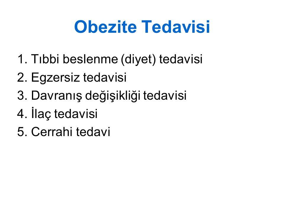Obezite Tedavisi 1. Tıbbi beslenme (diyet) tedavisi 2. Egzersiz tedavisi 3. Davranış değişikliği tedavisi 4. İlaç tedavisi 5. Cerrahi tedavi