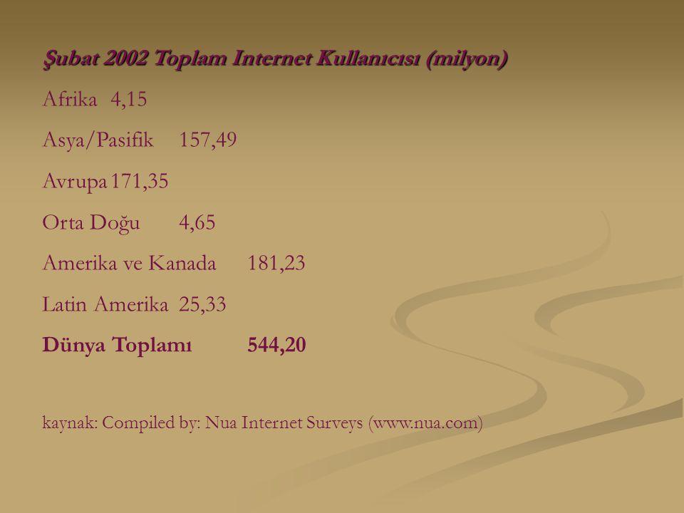 Şubat 2002 Toplam Internet Kullanıcısı (milyon) Afrika4,15 Asya/Pasifik157,49 Avrupa171,35 Orta Doğu4,65 Amerika ve Kanada181,23 Latin Amerika25,33 Dünya Toplamı544,20 kaynak: Compiled by: Nua Internet Surveys (www.nua.com)