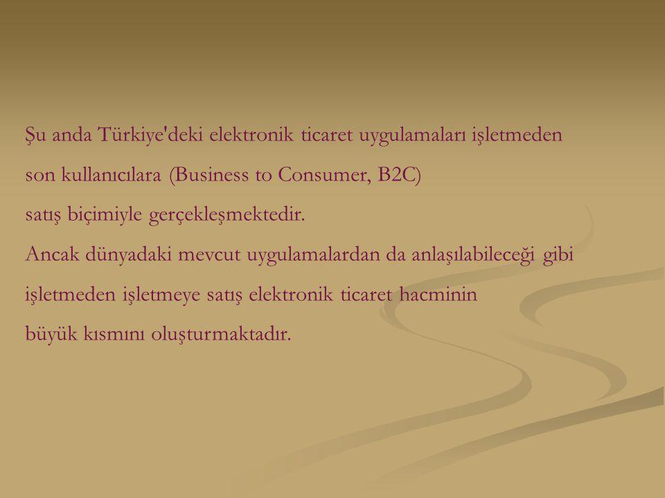Şu anda Türkiye deki elektronik ticaret uygulamaları işletmeden son kullanıcılara (Business to Consumer, B2C) satış biçimiyle gerçekleşmektedir.