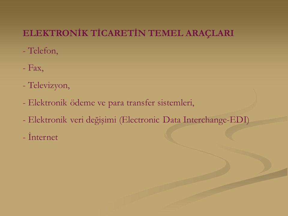 ELEKTRONİK TİCARETİN TEMEL ARAÇLARI - Telefon, - Fax, - Televizyon, - Elektronik ödeme ve para transfer sistemleri, - Elektronik veri değişimi (Electronic Data Interchange-EDI) - İnternet