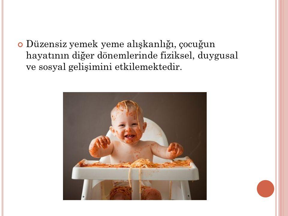 Düzensiz yemek yeme alışkanlığı, çocuğun hayatının diğer dönemlerinde fiziksel, duygusal ve sosyal gelişimini etkilemektedir.