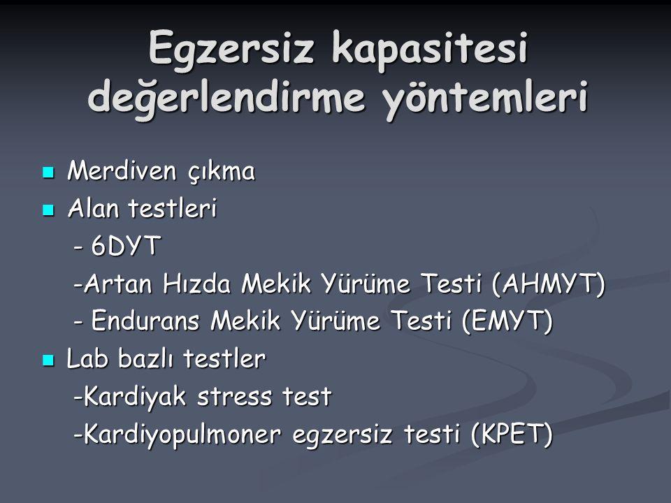 Egzersiz kapasitesi değerlendirme yöntemleri Merdiven çıkma Merdiven çıkma Alan testleri Alan testleri - 6DYT - 6DYT -Artan Hızda Mekik Yürüme Testi (