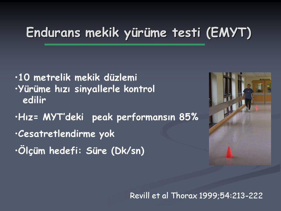 10 metrelik mekik düzlemi Yürüme hızı sinyallerle kontrol edilir Hız= MYT'deki peak performansın 85% Cesatretlendirme yok Ölçüm hedefi: Süre (Dk/sn) E