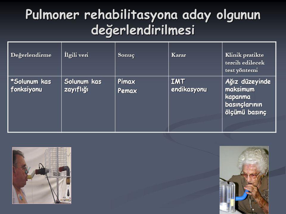 Pulmoner rehabilitasyona aday olgunun değerlendirilmesi Değerlendirme İlgili veri SonuçKarar Klinik pratikte tercih edilecek test yöntemi *Solunum kas
