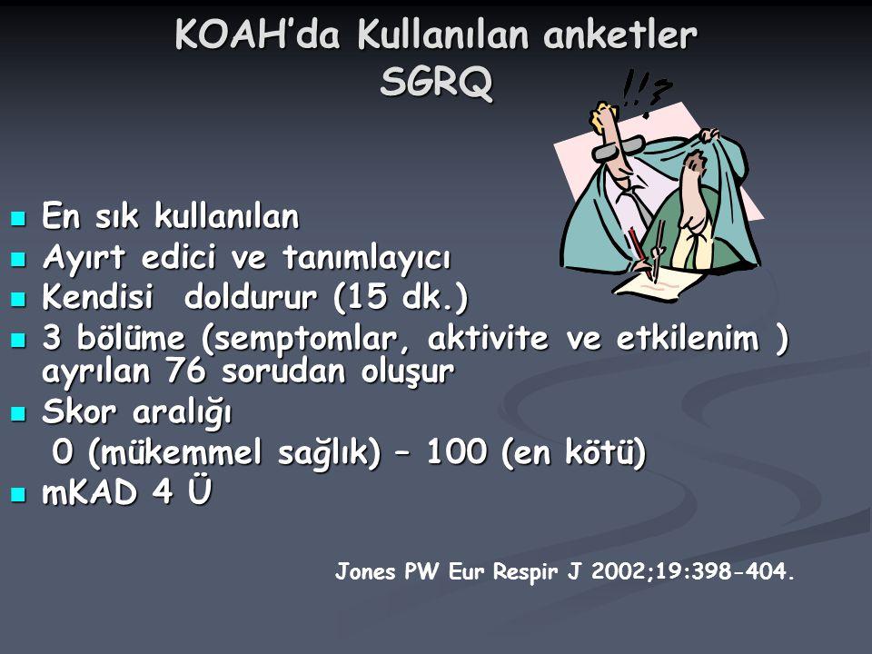 KOAH'da Kullanılan anketler SGRQ En sık kullanılan En sık kullanılan Ayırt edici ve tanımlayıcı Ayırt edici ve tanımlayıcı Kendisi doldurur (15 dk.) K