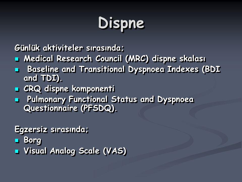 DispneDispne Günlük aktiviteler sırasında; Medical Research Council (MRC) dispne skalası Medical Research Council (MRC) dispne skalası Baseline and Tr