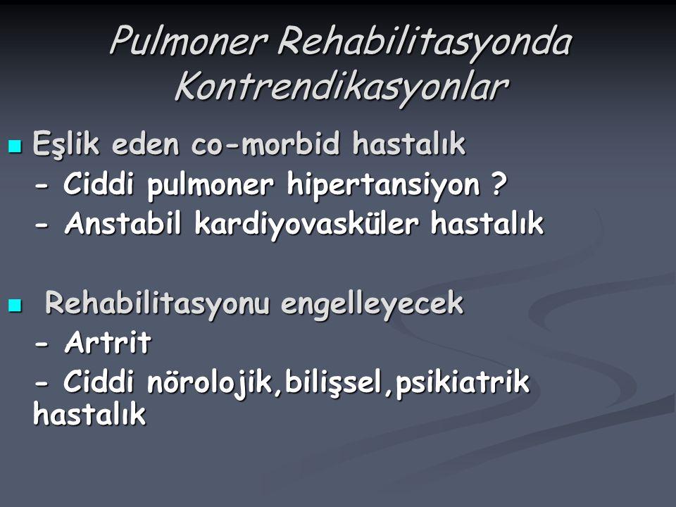 Pulmoner Rehabilitasyonda Kontrendikasyonlar Eşlik eden co-morbid hastalık Eşlik eden co-morbid hastalık - Ciddi pulmoner hipertansiyon ? - Anstabil k