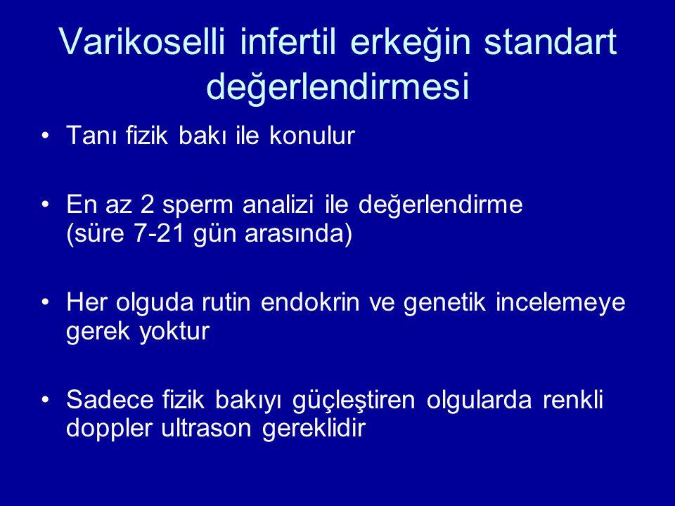 Varikoselli infertil erkeğin standart değerlendirmesi Tanı fizik bakı ile konulur En az 2 sperm analizi ile değerlendirme (süre 7-21 gün arasında) Her