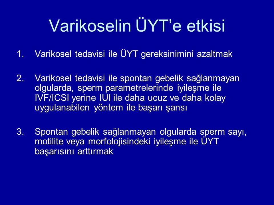 Varikoselin ÜYT'e etkisi 1.Varikosel tedavisi ile ÜYT gereksinimini azaltmak 2.Varikosel tedavisi ile spontan gebelik sağlanmayan olgularda, sperm par