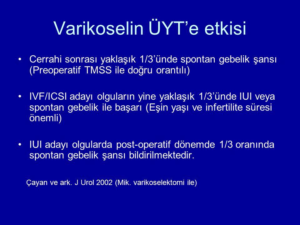 Varikoselin ÜYT'e etkisi Cerrahi sonrası yaklaşık 1/3'ünde spontan gebelik şansı (Preoperatif TMSS ile doğru orantılı) IVF/ICSI adayı olguların yine y