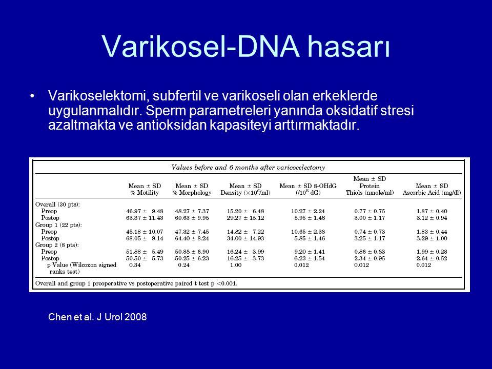 Varikosel-DNA hasarı Varikoselektomi, subfertil ve varikoseli olan erkeklerde uygulanmalıdır. Sperm parametreleri yanında oksidatif stresi azaltmakta