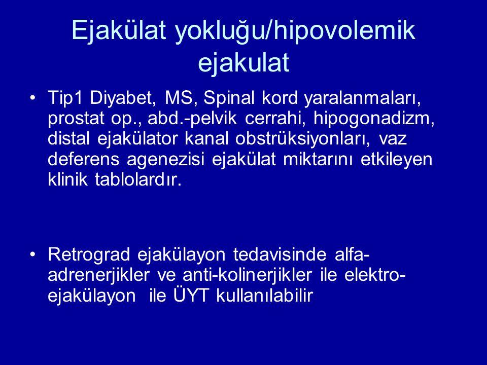 Ejakülat yokluğu/hipovolemik ejakulat Tip1 Diyabet, MS, Spinal kord yaralanmaları, prostat op., abd.-pelvik cerrahi, hipogonadizm, distal ejakülator k