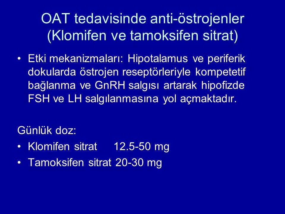 OAT tedavisinde anti-östrojenler (Klomifen ve tamoksifen sitrat) Etki mekanizmaları: Hipotalamus ve periferik dokularda östrojen reseptörleriyle kompe