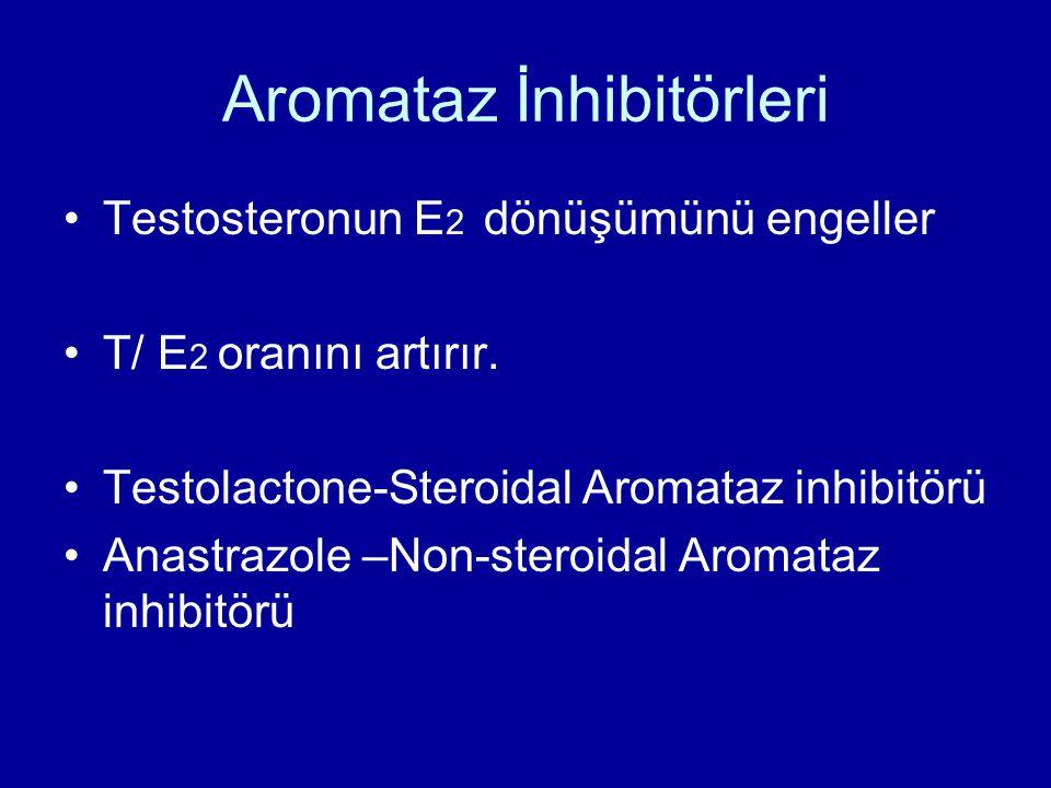 Aromataz İnhibitörleri Testosteronun E 2 dönüşümünü engeller T/ E 2 oranını artırır. Testolactone-Steroidal Aromataz inhibitörü Anastrazole –Non-stero