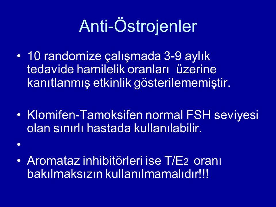 Anti-Östrojenler 10 randomize çalışmada 3-9 aylık tedavide hamilelik oranları üzerine kanıtlanmış etkinlik gösterilememiştir. Klomifen-Tamoksifen norm