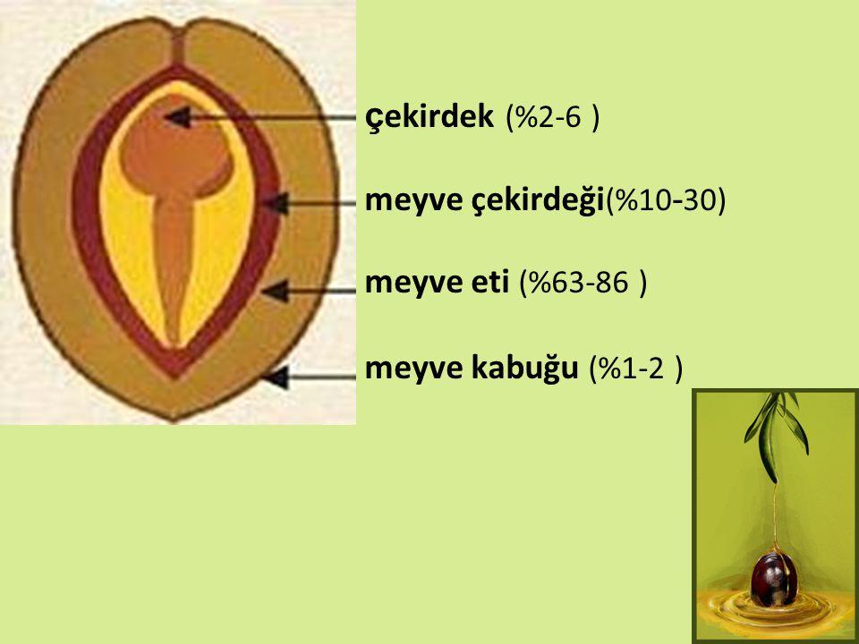 ç ekirdek (%2-6 ) meyve çekirdeği (%10 - 30) meyve eti (%63-86 ) meyve kabuğu (%1-2 )