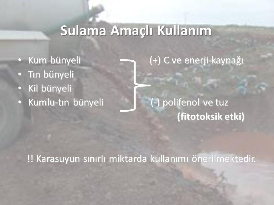 Sulama Amaçlı Kullanım Kum bünyeli (+) C ve enerji kaynağı Kum bünyeli (+) C ve enerji kaynağı Tın bünyeli Tın bünyeli Kil bünyeli Kil bünyeli Kumlu-t