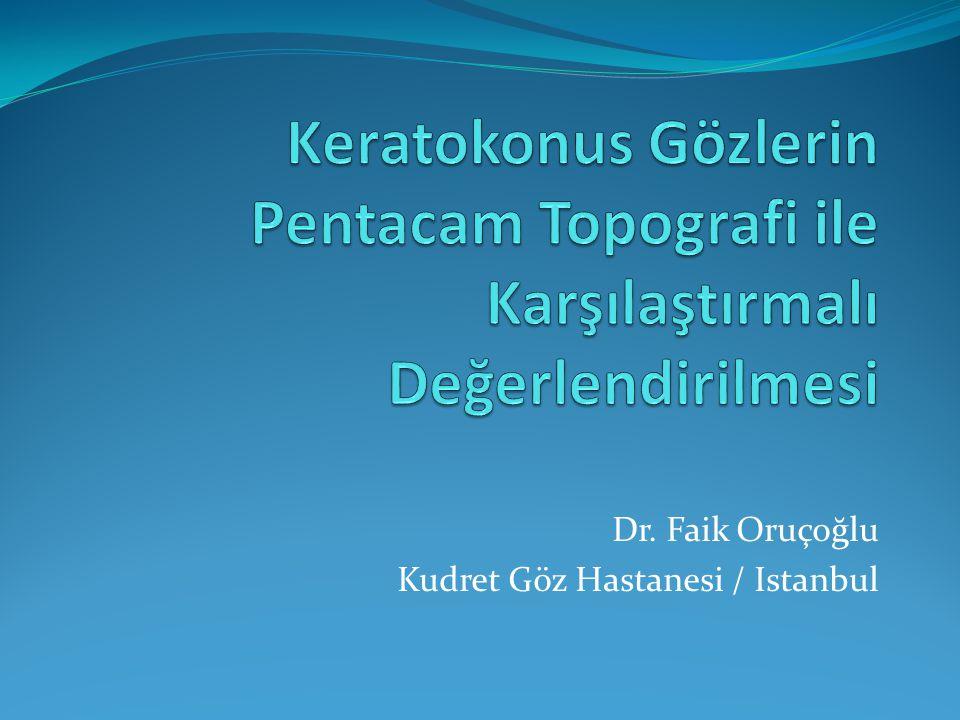 Amaç Keratokonuslu gözlerin ön segment değerlerinin Pentacam topografi ile değerlendirilmesi ve normal gözlerle karşılaştırılması.